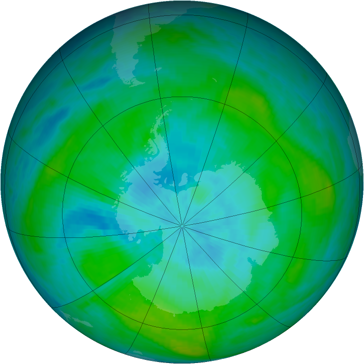 Antarctic ozone map for 22 February 1982