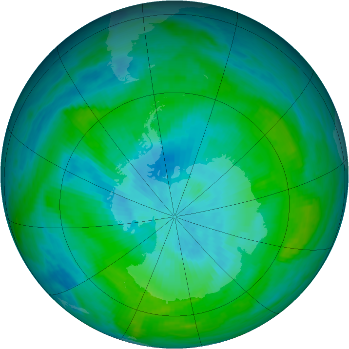 Antarctic ozone map for 23 February 1982