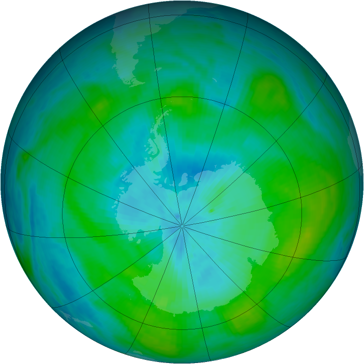 Antarctic ozone map for 25 February 1982