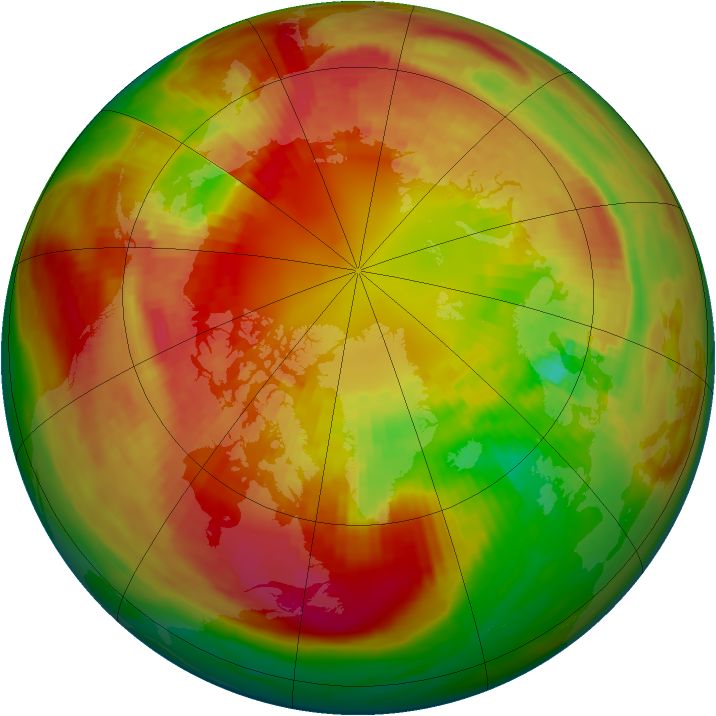 Arctic ozone map for 27 February 1982