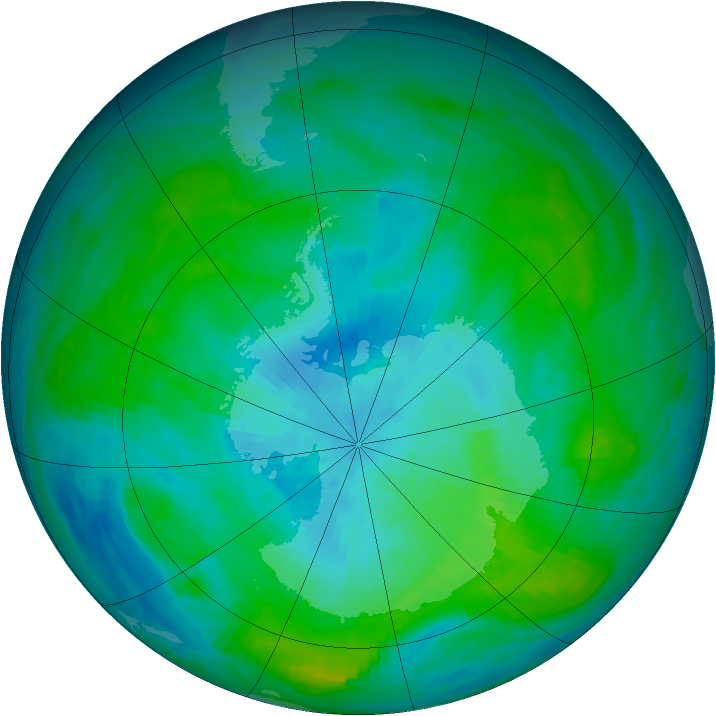 Antarctic ozone map for 28 February 1982