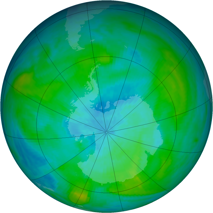 Antarctic ozone map for 01 March 1982