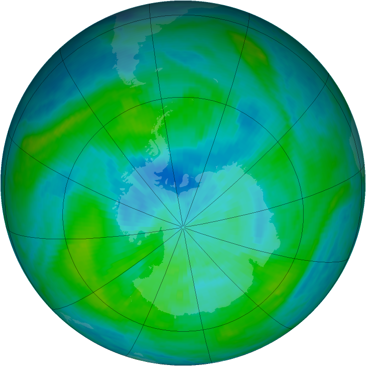 Antarctic ozone map for 04 March 1982