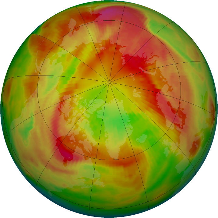 Arctic ozone map for 05 March 1982