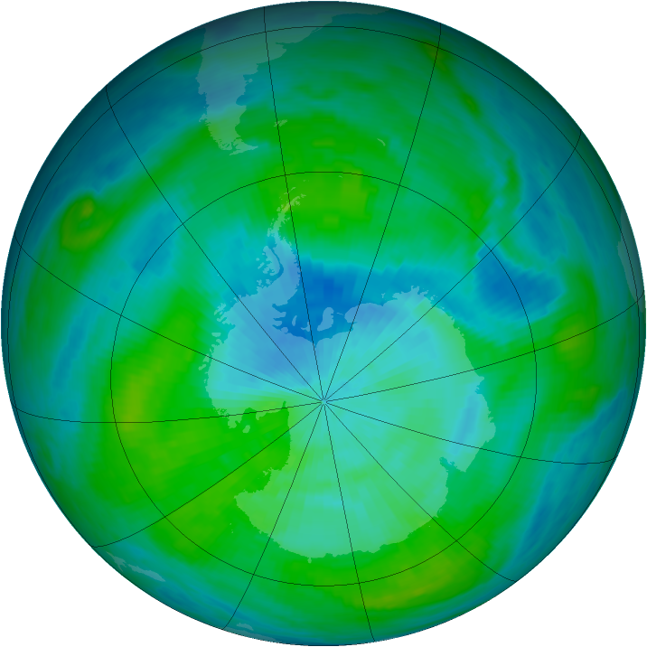 Antarctic ozone map for 05 March 1982