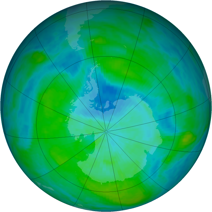 Antarctic ozone map for 06 March 1982