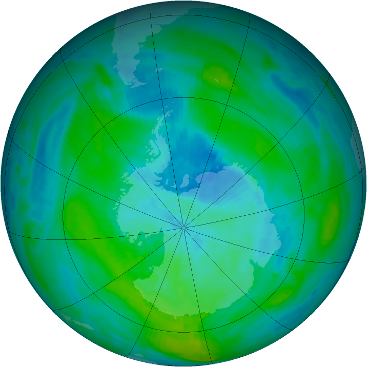 Antarctic ozone map for 07 March 1982