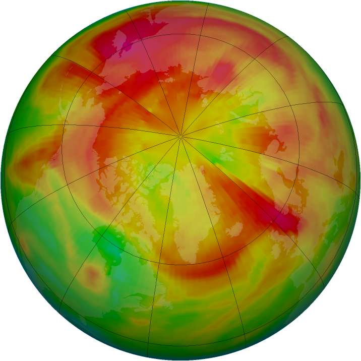 Arctic ozone map for 13 March 1982