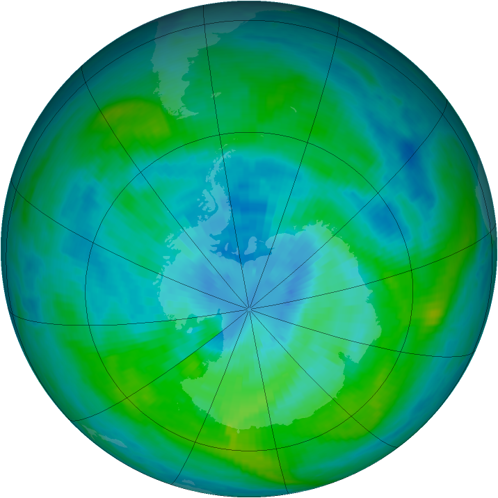 Antarctic ozone map for 20 March 1982