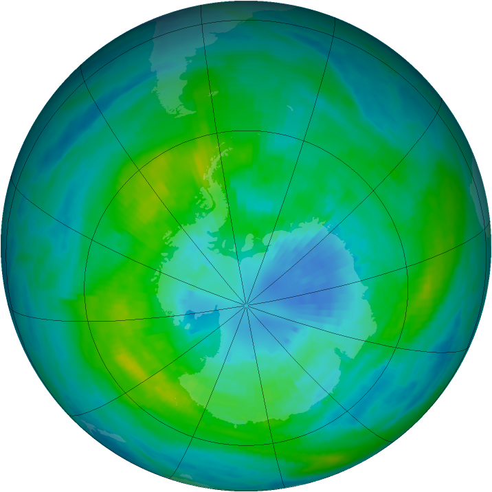 Antarctic ozone map for 29 March 1982