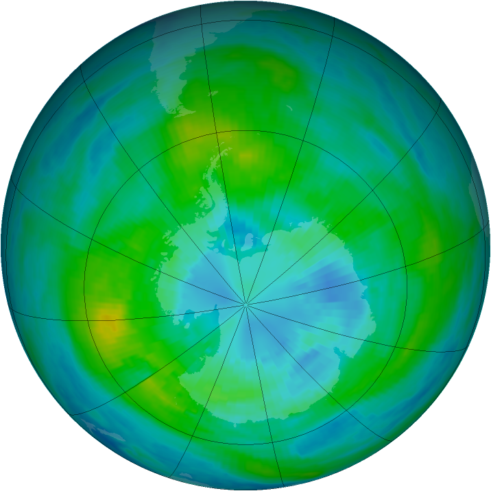 Antarctic ozone map for 30 March 1982