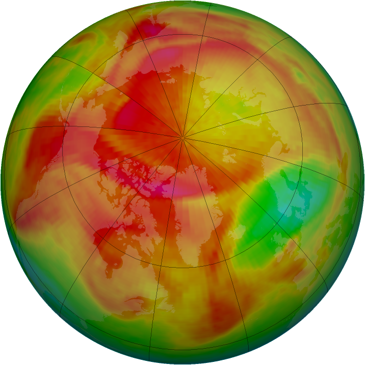 Arctic ozone map for 01 April 1982