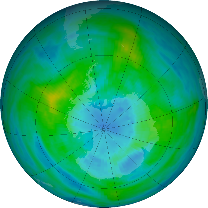 Antarctic ozone map for 01 April 1982