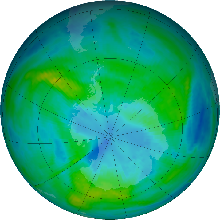 Antarctic ozone map for 05 April 1982
