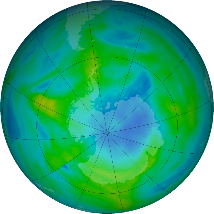Antarctic ozone map for 14 April 1982
