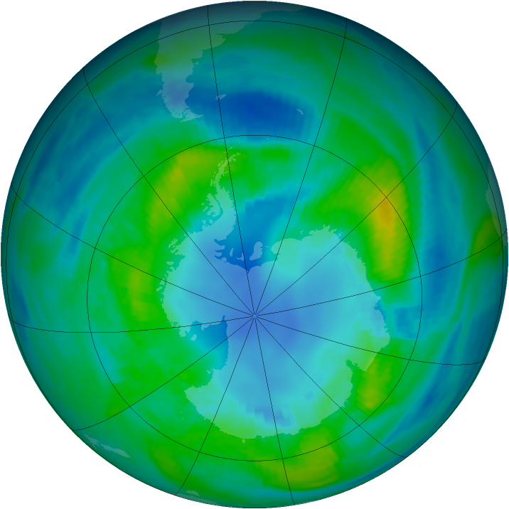 Antarctic ozone map for 18 April 1982