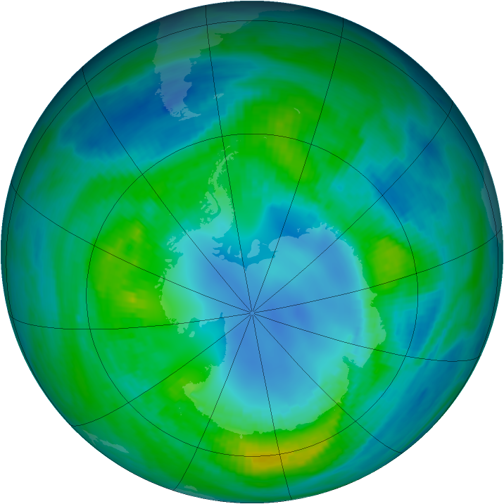 Antarctic ozone map for 21 April 1982