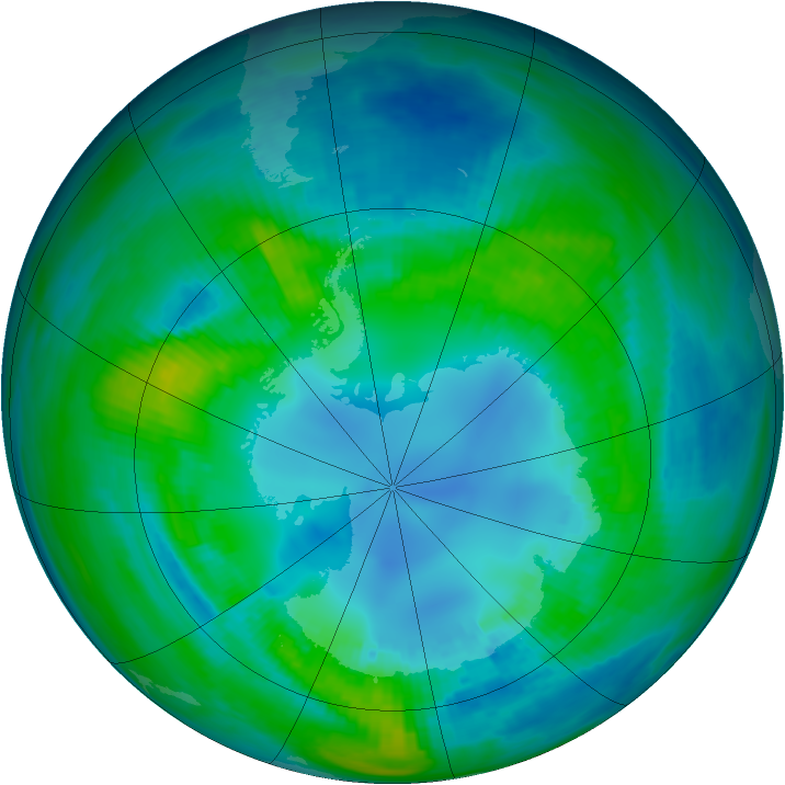 Antarctic ozone map for 24 April 1982