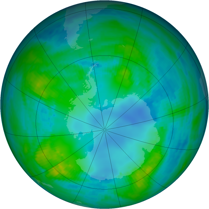 Antarctic ozone map for 01 May 1982