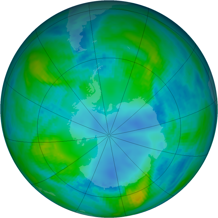 Antarctic ozone map for 02 May 1982