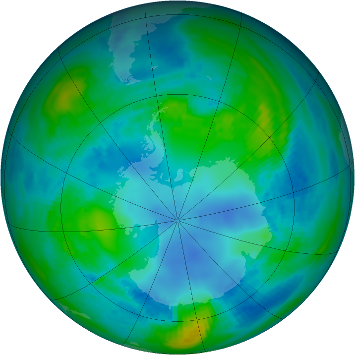 Antarctic ozone map for 03 May 1982