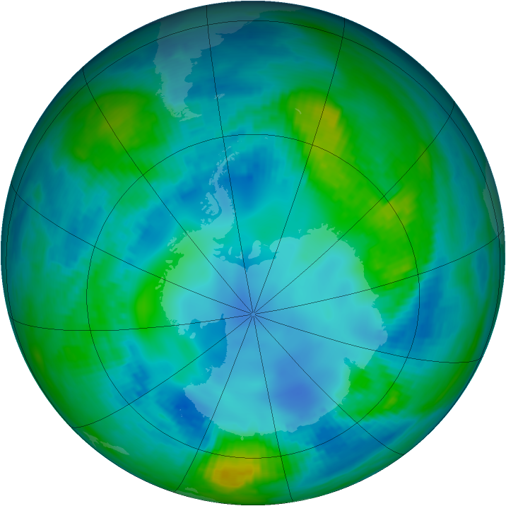 Antarctic ozone map for 04 May 1982