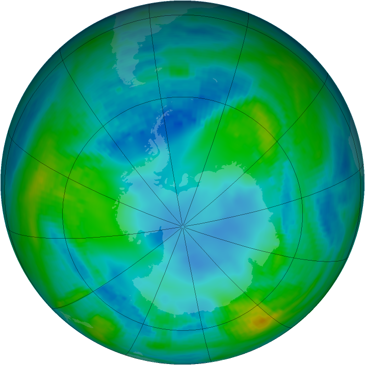 Antarctic ozone map for 08 May 1982