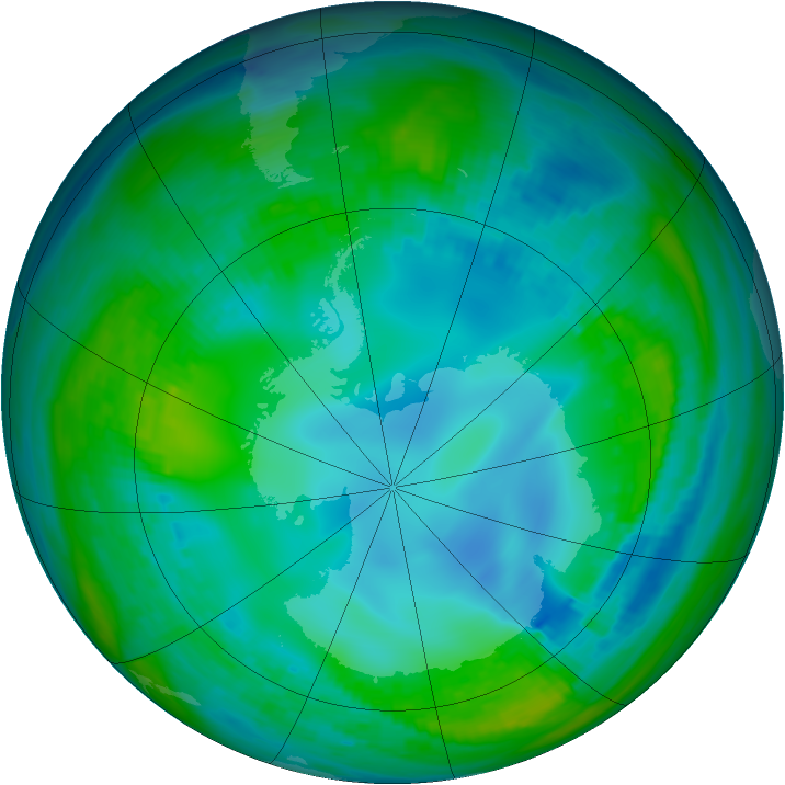 Antarctic ozone map for 15 May 1982