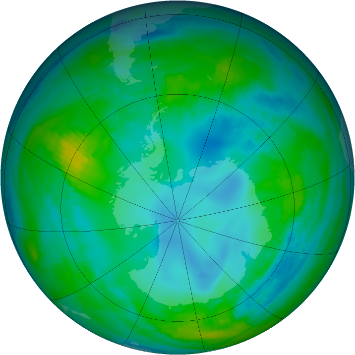 Antarctic ozone map for 16 May 1982
