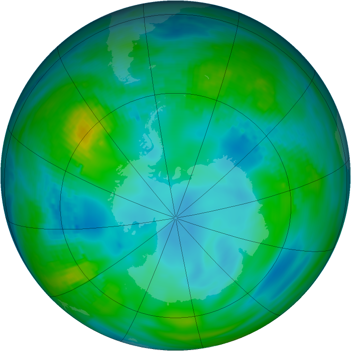 Antarctic ozone map for 17 May 1982