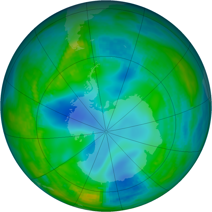 Antarctic ozone map for 20 May 1982