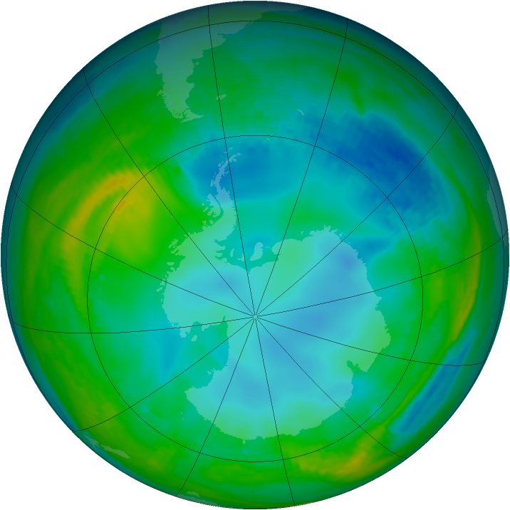 Antarctic ozone map for 25 May 1982
