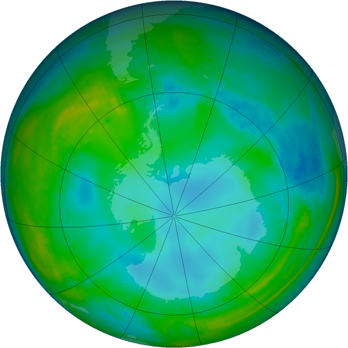 Antarctic ozone map for 27 May 1982