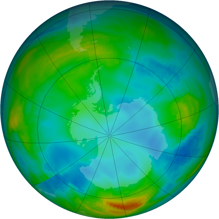 Antarctic ozone map for 29 May 1982