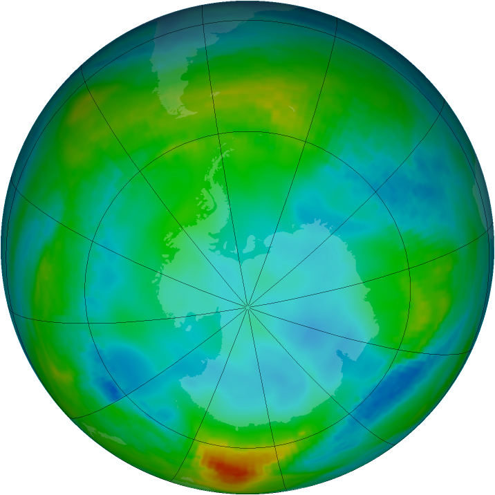 Antarctic ozone map for 30 May 1982