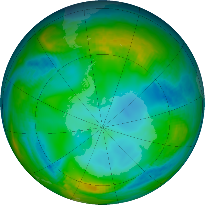 Antarctic ozone map for 31 May 1982