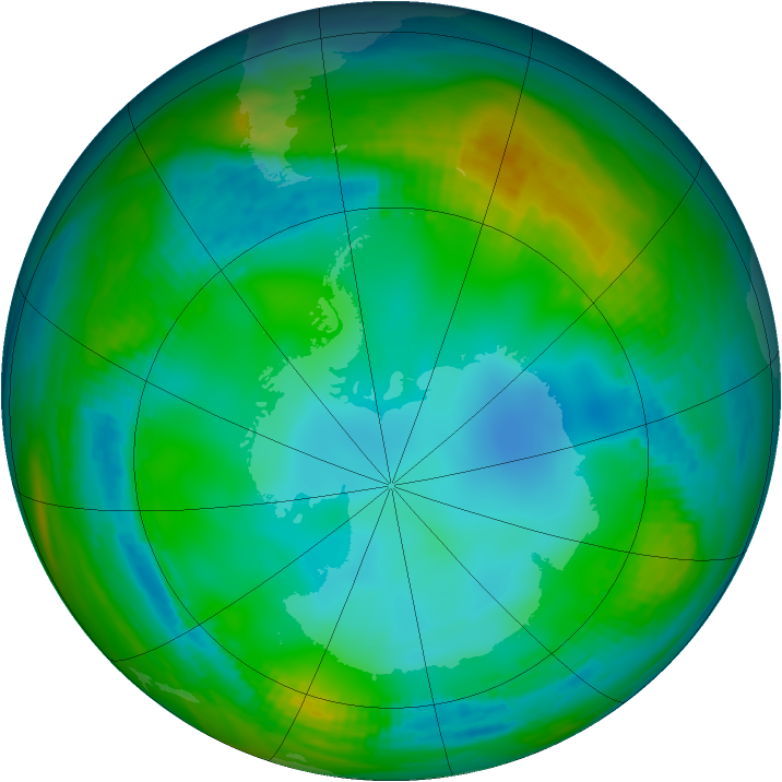 Antarctic ozone map for 01 June 1982