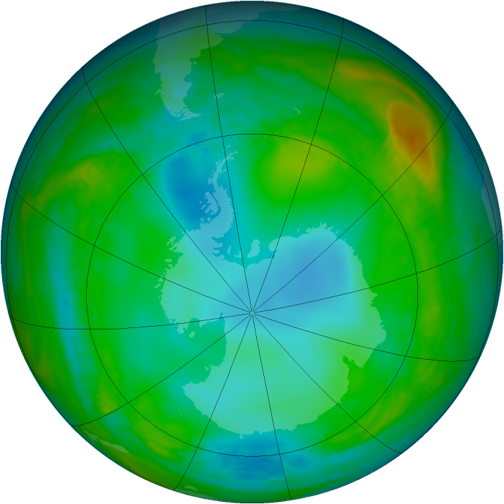 Antarctic ozone map for 03 June 1982