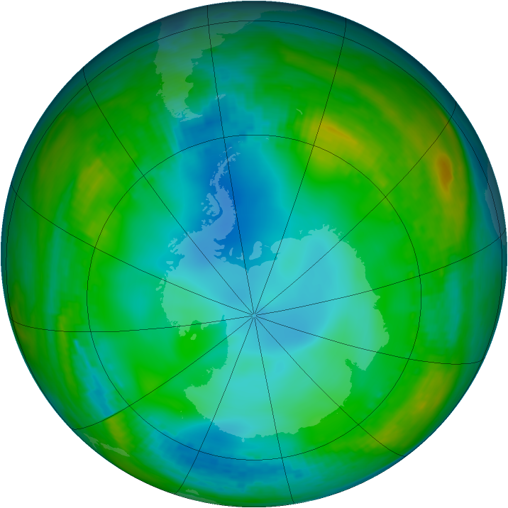 Antarctic ozone map for 04 June 1982