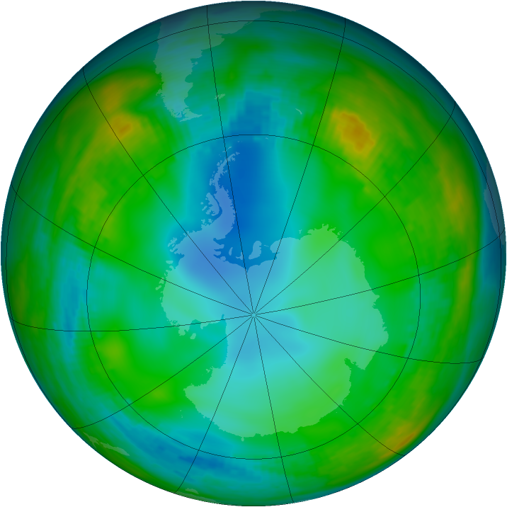 Antarctic ozone map for 05 June 1982