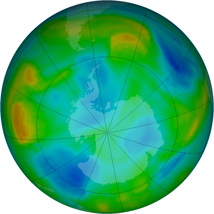 Antarctic ozone map for 17 June 1982