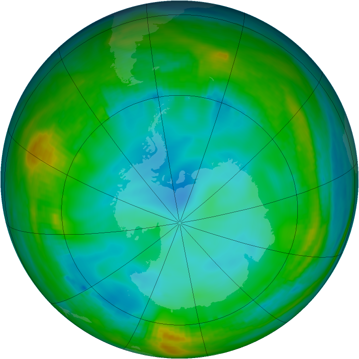 Antarctic ozone map for 19 June 1982
