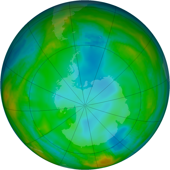Antarctic ozone map for 24 June 1982