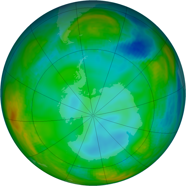 Antarctic ozone map for 30 June 1982