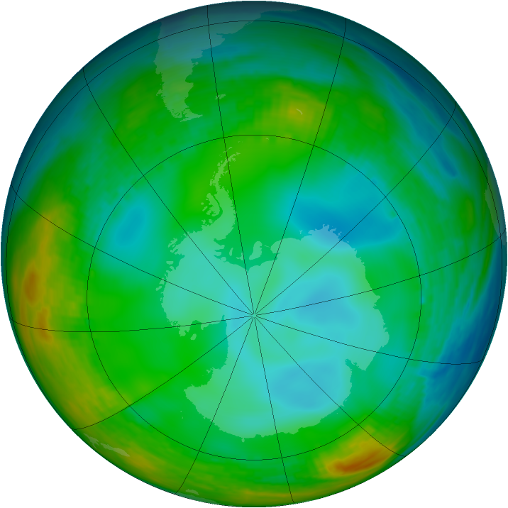 Antarctic ozone map for 02 July 1982