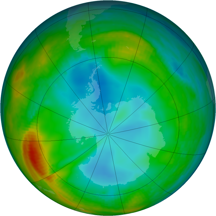 Antarctic ozone map for 05 July 1982