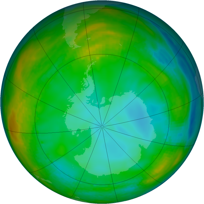 Antarctic ozone map for 09 July 1982