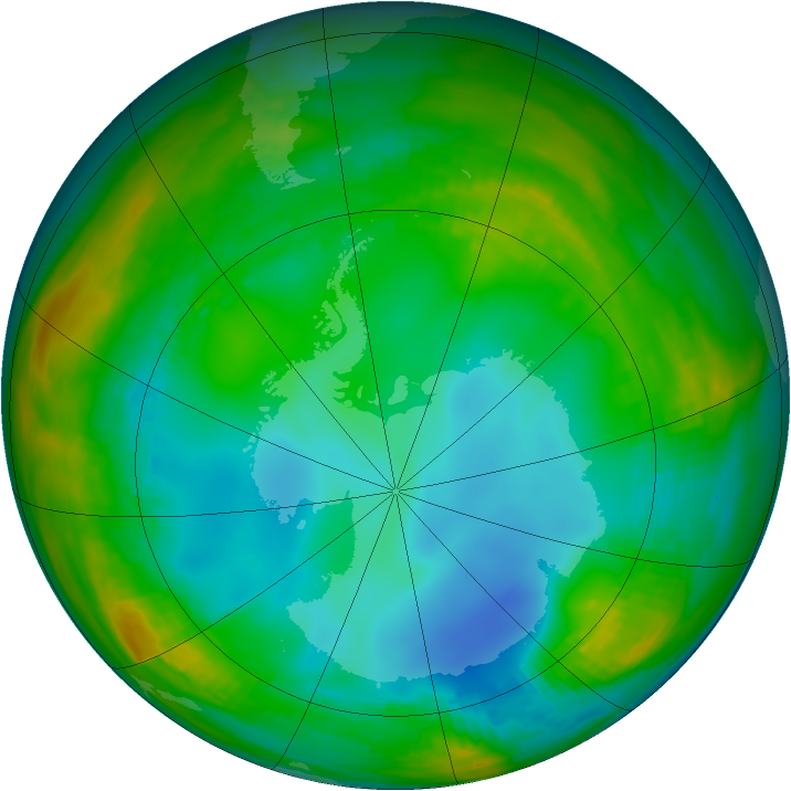 Antarctic ozone map for 15 July 1982
