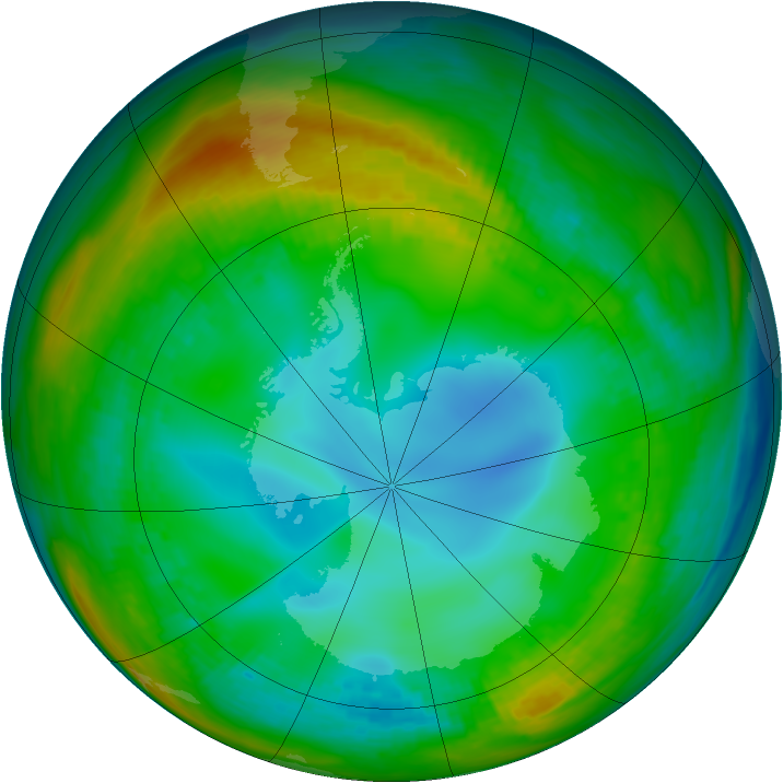 Antarctic ozone map for 21 July 1982