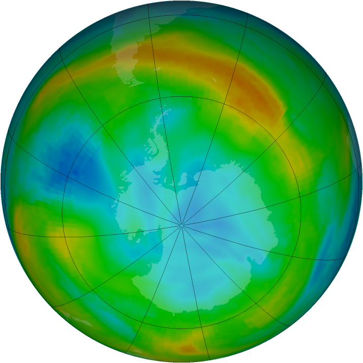 Antarctic ozone map for 23 July 1982